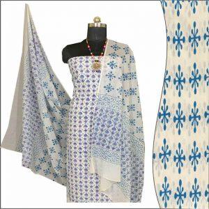Block Print Salwar Suit (White & Violet)