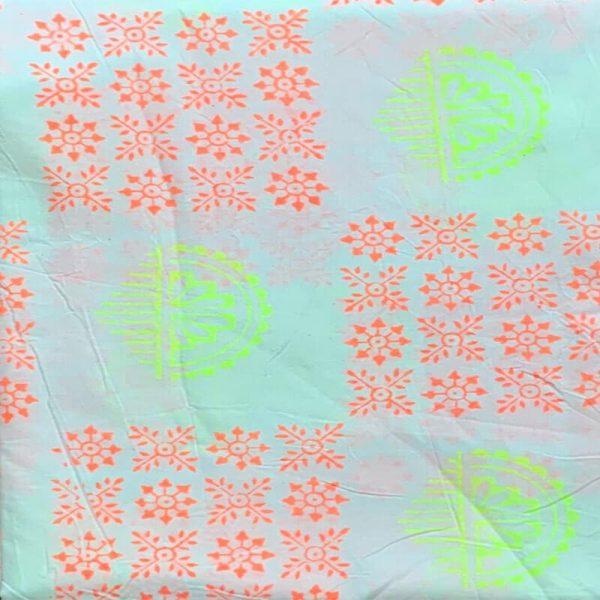 Block Print Salwar Kameez (White And Red-Yellow)