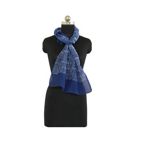 Hand Batik Print Blue Premium Stole