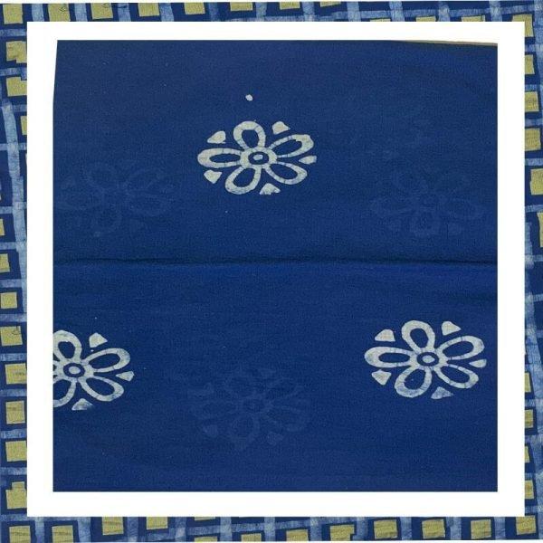 Batik Print Blue Color Salwar Suits Zari Work Material