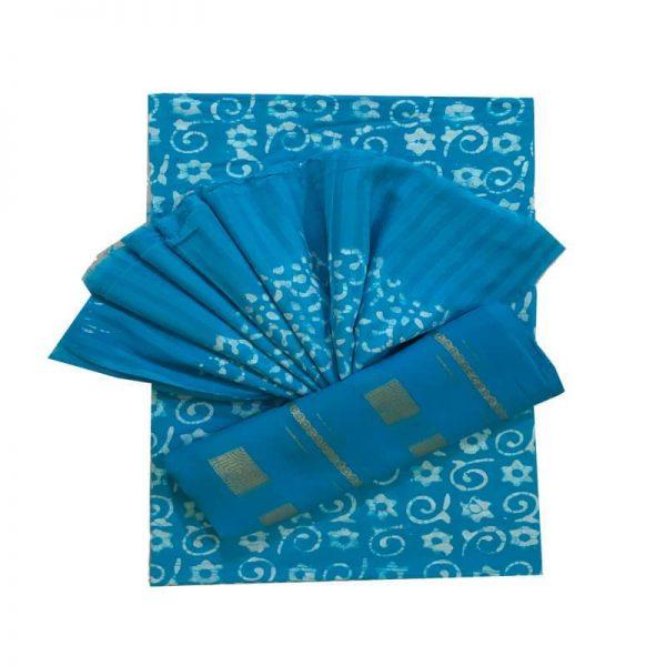 Hand Print Batik Azure Blue Salwar Suit Fabric - 100 % Cotton