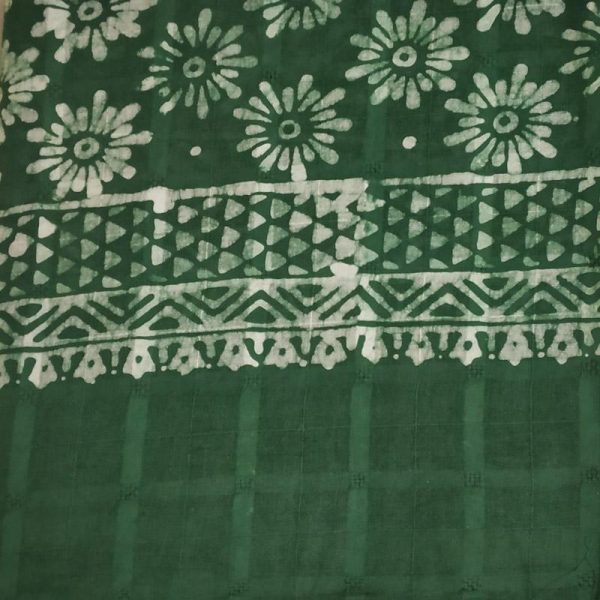 Hand Batik Print Green Suit Fabric- 100 % Cotton