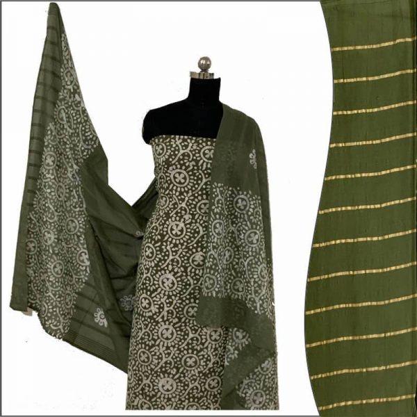 Batik Print Olivine Green Unstitched Salwar Suit Material set   बाटिक प्रिंट सलवार सूट