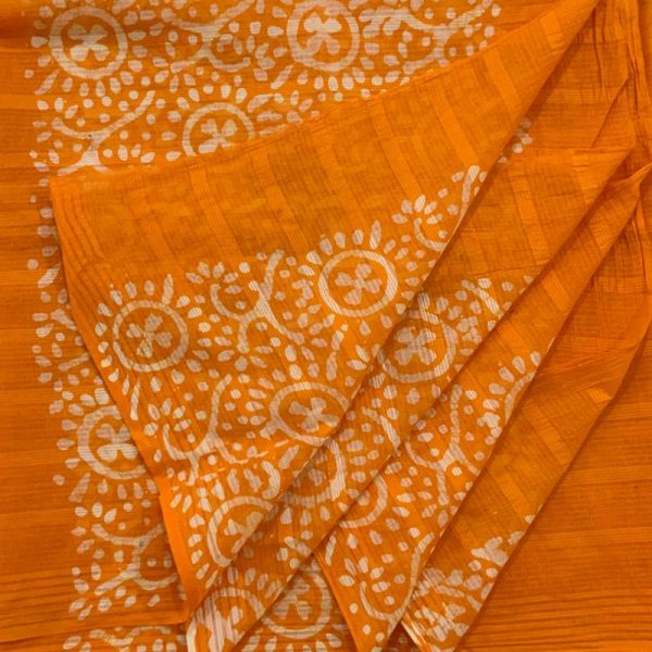 Hand Print Batik Salwar Suit Fabric-Zari Top- Cotton Dupatta- Cambric Bottom - 100 % Cotton