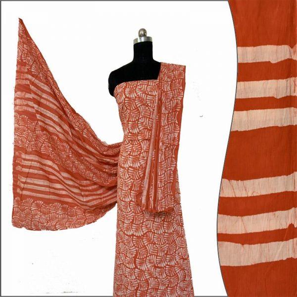 Hand Made Batik Print Orange Salwar Suit Fabric- 100 % Cotton