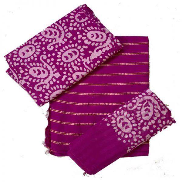 Hand Print Batik Salwar Suit Fabric -100 % Cotton