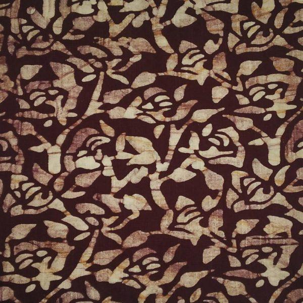 Batik Print Chocolate & Ivory Unstitched Salwar Kameez (Salwar Suit) Fabric- 100 % Cotton