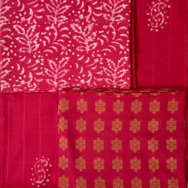 Hand Print Batik Cardinal Red Salwar Suit Fabric - 100 % Cotton