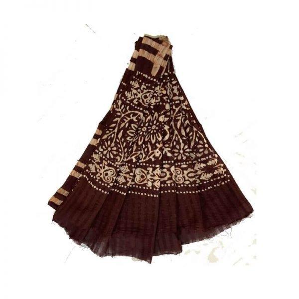 Hand Made Batik Print Brown Salwar Suit Fabric- 100 % Cotton