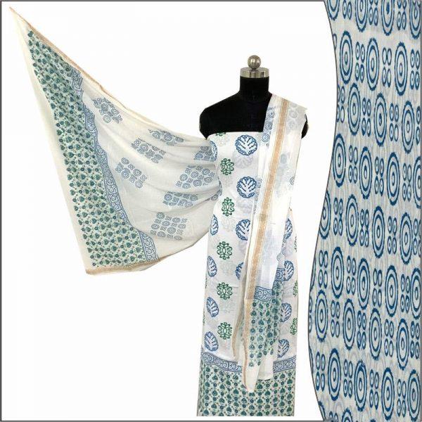 Hand Made Block Print White Salwar Suit Fabric 100% Cotton