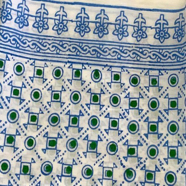 Block Print Salwar Kameez (White and Blue)