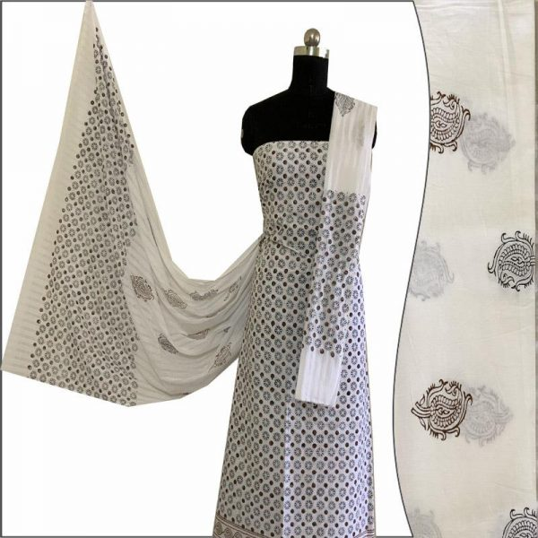 Hand Block Print Ladies White Suit Fabric - 100 % Cotton