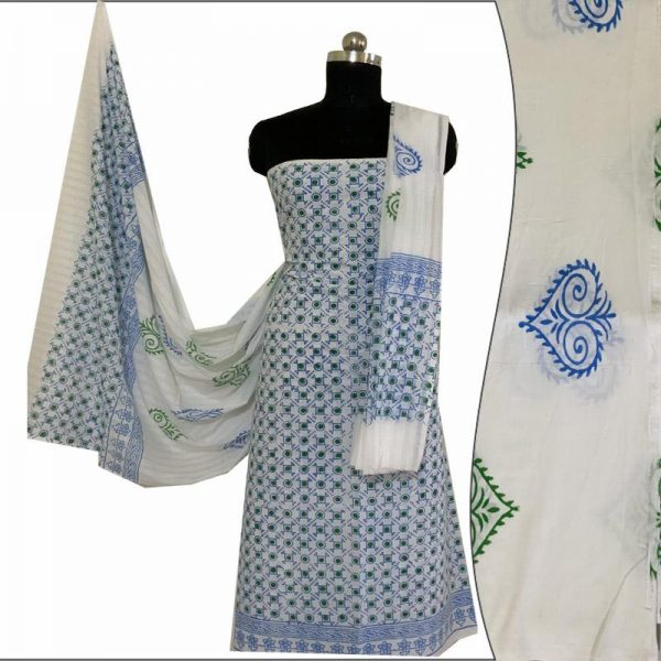 Block Print Salwar Suit (White and Blue)