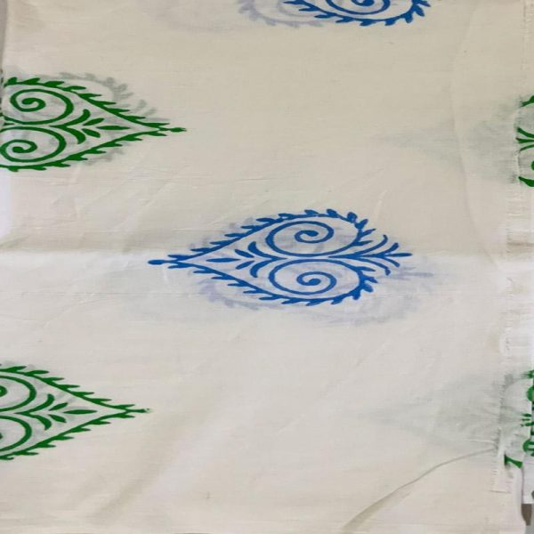 Block Print Ladies White and Blue salwar Suit