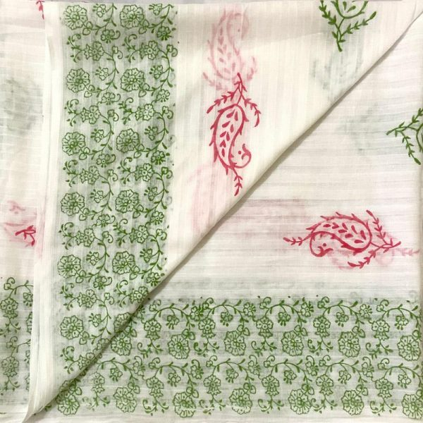 Hand Made White & Red Green Block Print Salwar Suit Fabric 100% Cotton