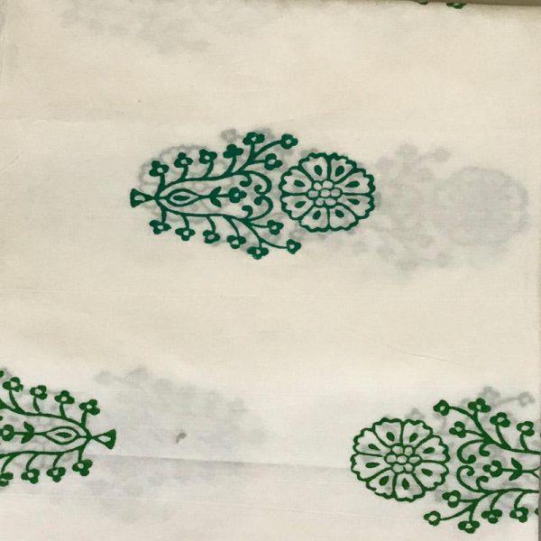 Hand Block Print Ladies Green & White Suit Fabric - 100 %