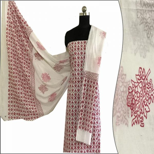 Hand Block Print Ladies Red & White Suit Fabric - 100 %