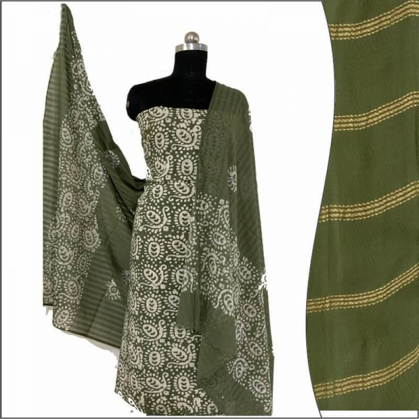 Batik Print Olivine Green Unstitched Salwar Suit Fabric 100% Cotton | बाटिक प्रिंट सलवार सूट