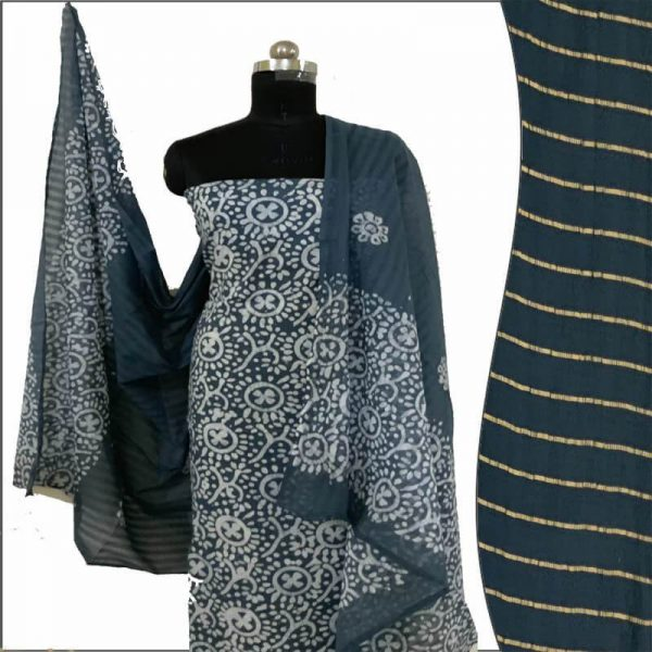 Batik Print Slate Grey Unstitched Salwar Suit Fabric - 100 % Cotton| बाटिक प्रिंट सलवार सूट
