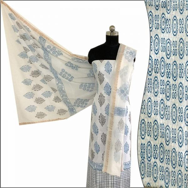 Hand Made White & Blue Block Print Salwar Suit Fabric 100% Cotton