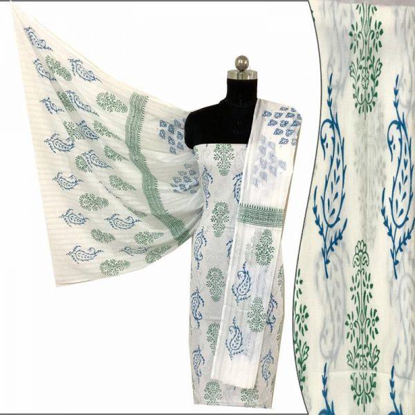 Hand Made White & Green Blue Block Print Salwar Suit Fabric 100% Cotton