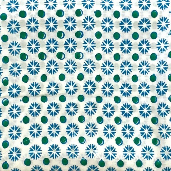 Hand Made White & Blue Block Print Salwar Suit Fabric 100% Cotton