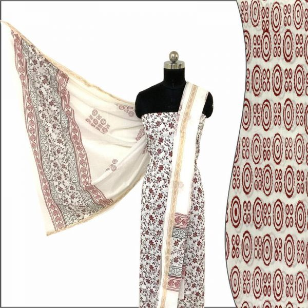 Hand Made White & Red Block Print Salwar Suit Fabric 100% Cotton