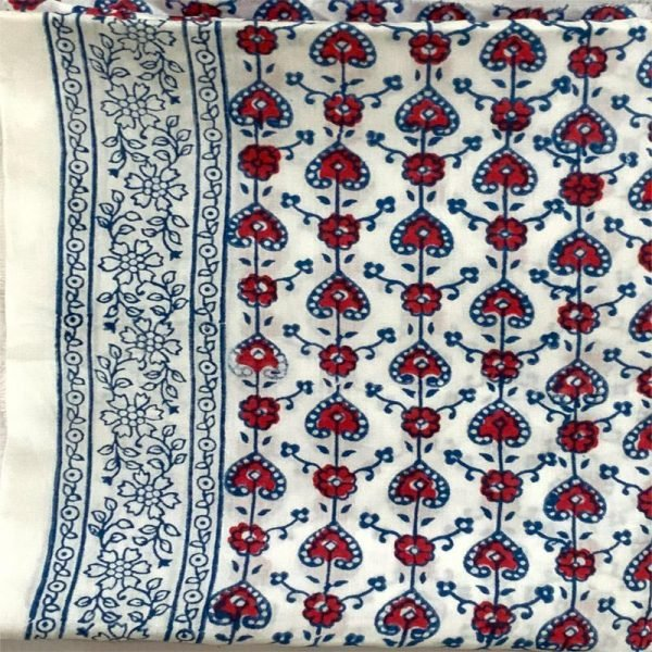 Hand Made Block Print White and Red Salwar Suit Fabric 100% Cotton
