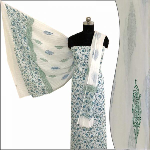 Hand made White & Green Block Print salwar Suit Fabric 100% Cotton