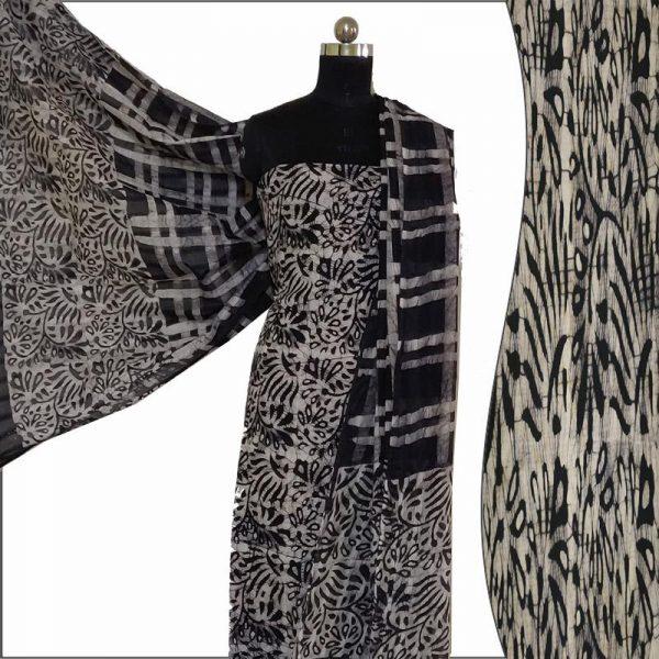 Hand Batik Print Black Salwar Suit Fabric- 100 % Cotton