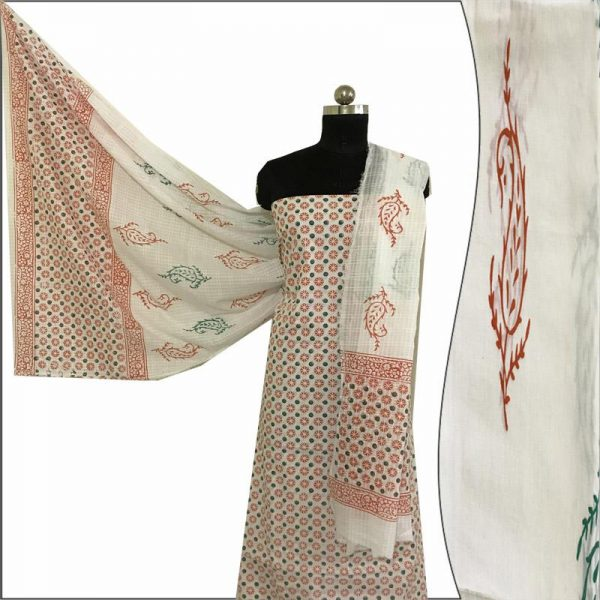 Hand Block Print Ladies Orange & White Suit Fabric - 100 %