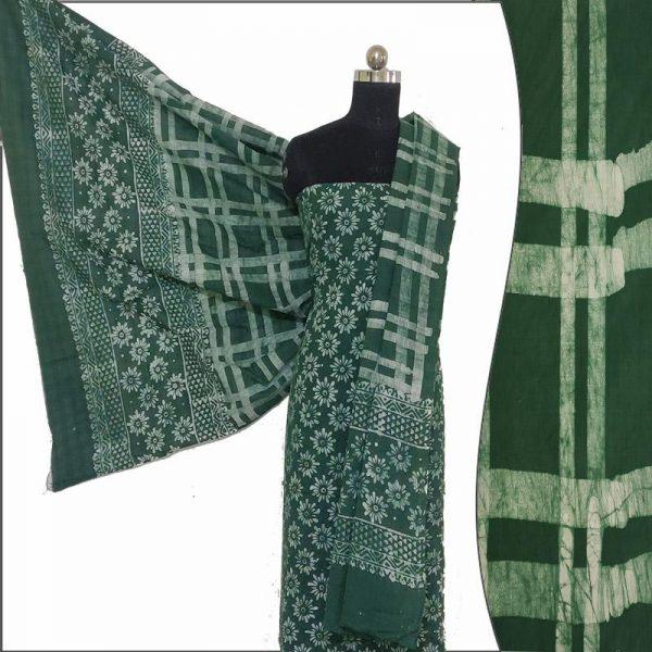 Batik Print Green Unstitched Salwar Suit Fabric- 100 % Cotton   बाटिक प्रिंट सलवार सूट