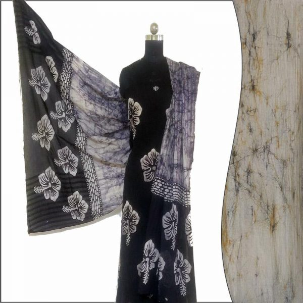 Batik Print Black & Ivory Unstitched Salwar Suit Fabric- 100 % Cotton   बाटिक प्रिंट सलवार सूट