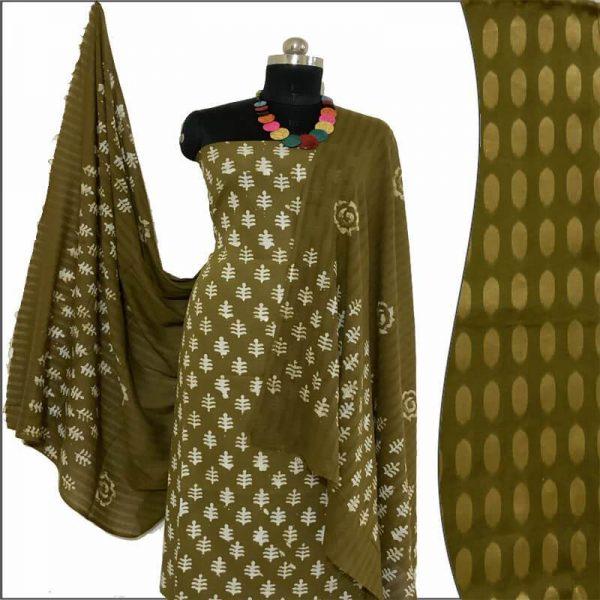 Hand Print Batik Olive Green Salwar Suit Fabric - 100 % Cotton