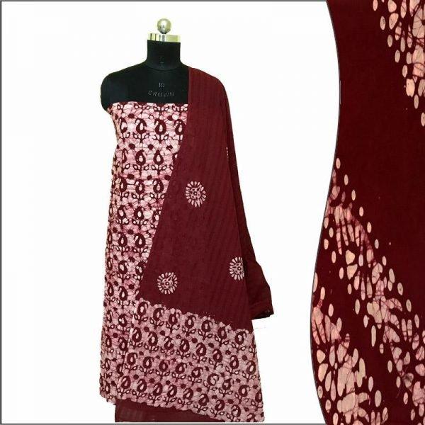 Batik Print Chocolate Brown Salwar Kameez (Salwar Suit) Fabric- 100 % Cotton