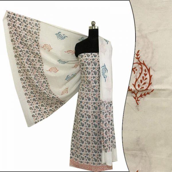 Hand Block Print Ladies Orange & White Suit Fabric - 100 % Cotton Hand Block Print Ladies Orange & White Suit Fabric - 100 % Cotton