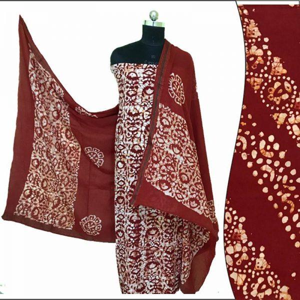 Hand Batik Print Chocolate Brown Suit Fabric- 100 % Cotton