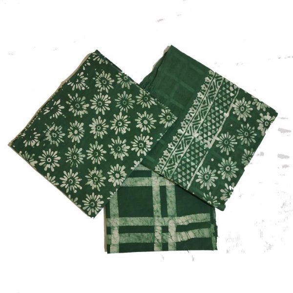 Batik Print Green Unstitched Salwar Suit Material set
