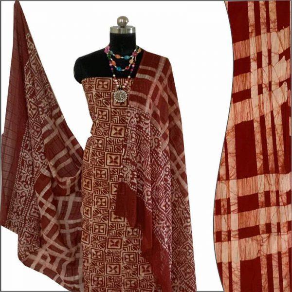 Batik Print Dark Brown Salwar Suit Fabric- 100% Cotton /  बाटिक प्रिंट सलवार सूट