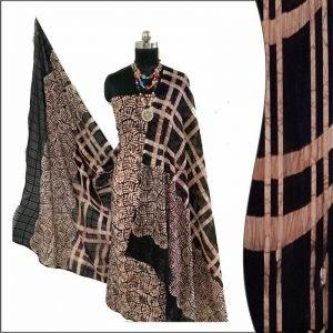 Batik Print Black & chocolatey Salwar Suit fabric - 100% Cotton / बाटिक प्रिंट सलवार सूट