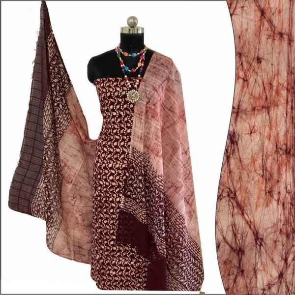 Batik Print Seal brown ivory unstitched Salwar Suit Fabric- 100% Cotton | बाटिक प्रिंट सलवार सूट