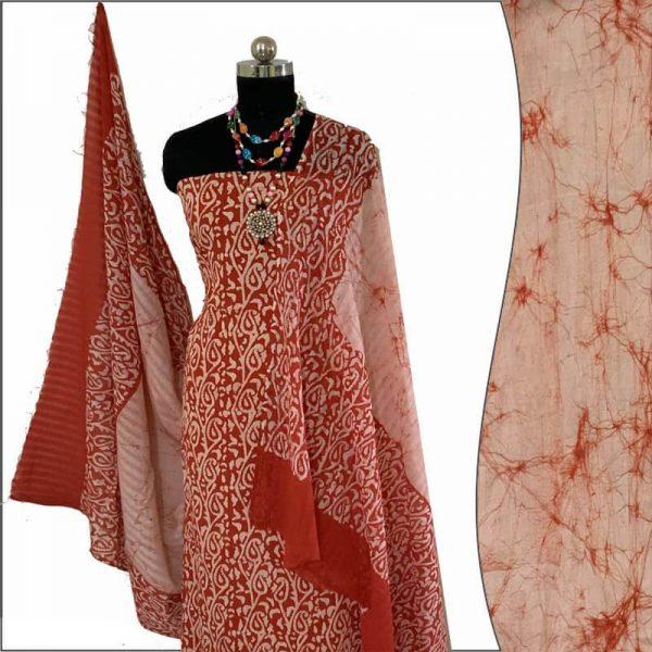 Batik Print  Red ivory Unstitched Salwar Suit Fabric- 100 % Cotton / बाटिक प्रिंट सलवार सूट