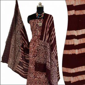 Batik Print Chocolate Brown Salwar Suit Fabric- 100 % Cotton / बाटिक प्रिंट सलवार सूट