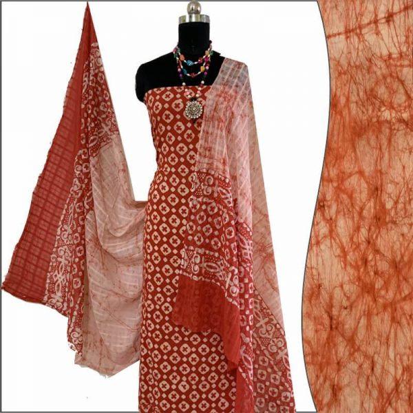 Batik Print Red ivory Salwar Suit Fabric- 100 % Cotton    बाटिक प्रिंट सलवार सूट