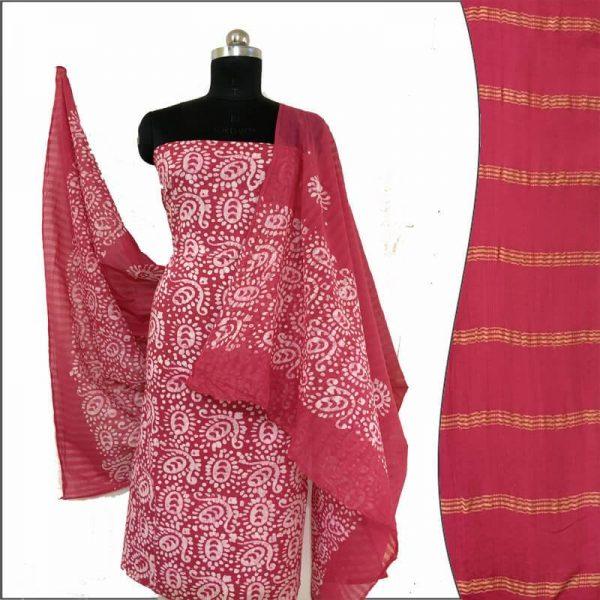 Batik Print Amaranth Magenta Unstitched Salwar Kameez (Salwar Suit) Fabric-Zari Top- Cotton Dupatta- Cambric Bottom - 100 % Cotton