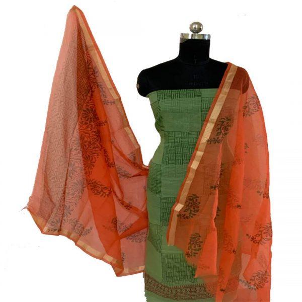 Kota Doria Green & Orange Kurta Dupatta Fabric   कोटा डोरिया सलवार सूट