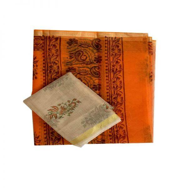 Kota Doria Premium Unstitched Grey-Orange Kurta And Dupatta Fabric - 100 % Cotton