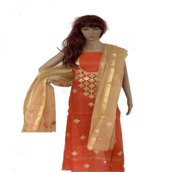 Kota Doria Premium Unstitche Orange Suit-Dupatta Fabric - 100 % Cotton