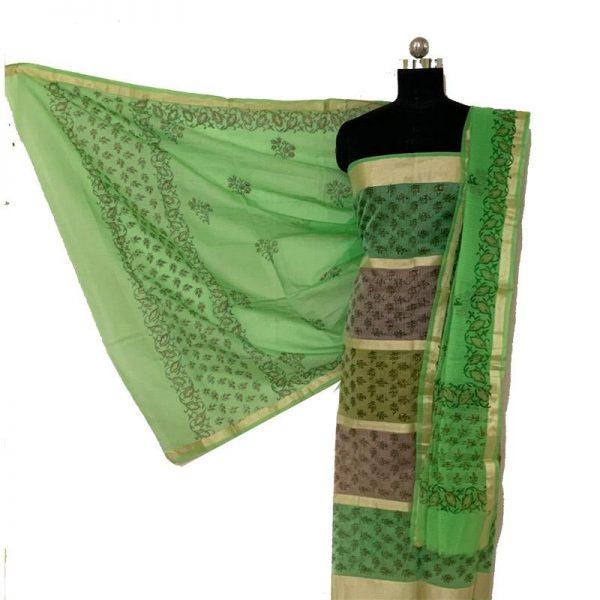 Kota Doria Premium Unstitched Green Suit-Dupatta Fabric - 100 % Cotton