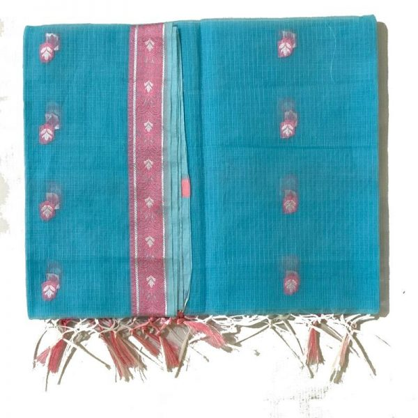 Kota Doria Premium Unstitche Blue Suit-Dupatta Fabric - 100 % Cotton